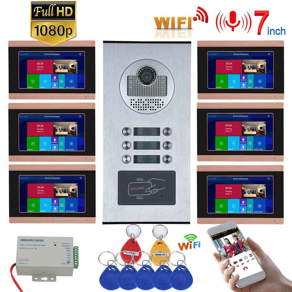7inch Record Wired / Wifi Wireles Video Intercom 6 Apartments With 6 Family RFID Doorphone System IR-CUT 1080P Doorbell Camera