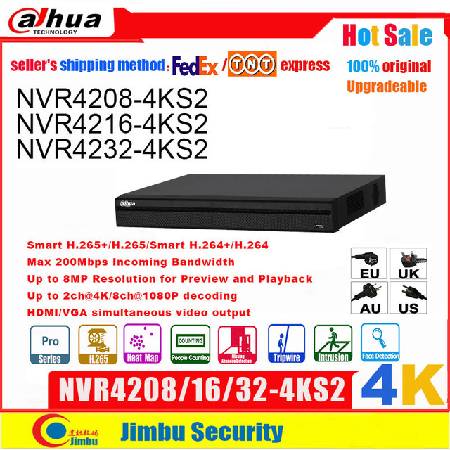 Dahua NVR 4k 8CH 16CH32CH NVR4208 4KS2 NVR4216 4KS2 NVR4232 4KS2 H.265/H.264 Up to 8MP Resolution for Preview and Playback