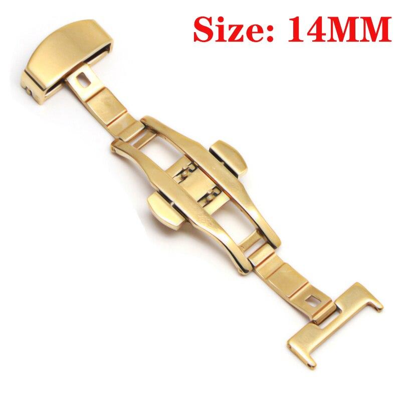 Пряжка с бабочкой, автоматический двойной клик, застежка из нержавеющей стали, ремешок для часов, ремешок, 16 мм, 18 мм, 20 мм, 22 мм, застежка для часов - Цвет: Gold-14MM