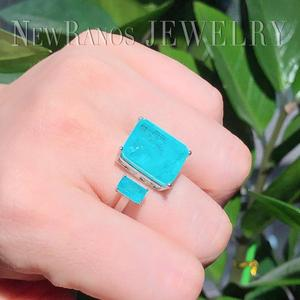 Image 5 - Newranos Square Fusion Stone Finger Ring Blue Natural Double Stone Opening Ring for Women Fashion Jewelry RFX001904