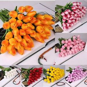 10 sztuk sztuczne tulipany fałszywe kwiaty żywe Mini tulipan Flores Fleur Artificiales dla domu dekoracja do bukietu ślubnego tanie kwiat