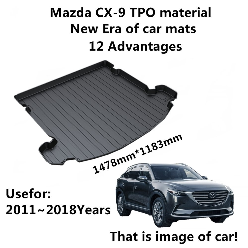SJ ALL Weather TPO Car Trunk Mats Tail Boot Cargo Liner Cover Rear Cargo Tray Luggage Pad For MAZDA CX9 CX 9 2011 2012 2013 2018   - title=