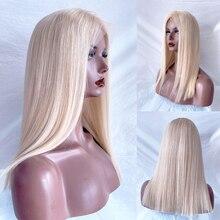 BYMC-perruque Full Lace Wig sans colle naturelle brésilienne Remy en soie, sans colle, couleur Blonde cendrée 60, avec Baby Hair