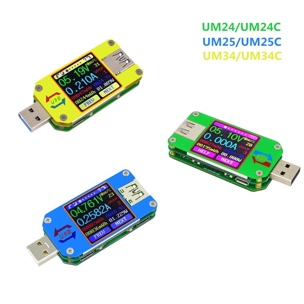 Вольтметр Амперметр постоянного тока UM34/UM34C UM24/UM24C UM25/UM25C, тестер напряжения, тока, зарядка батареи, USB тестер LD25/LD35 HD25
