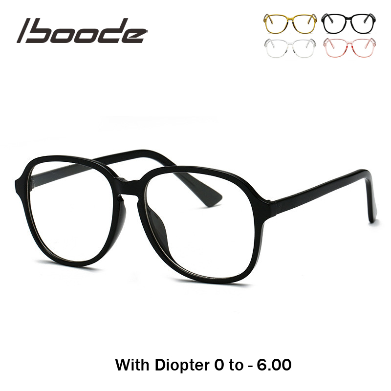 Iboode 2019 New Hipsters Style Finished Myopia Glasses Personality Transparent Frame Spectacles 0 -0.5 1.0 2.0 2.5 3.0 3.5~6.0