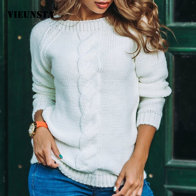 VIEUNSTA Autumn Winter Warm Sweater 2019 Women Kink Long Sleeve Knitted Pullover Jumper Casual O Neck Solid Pull Sweaters Female