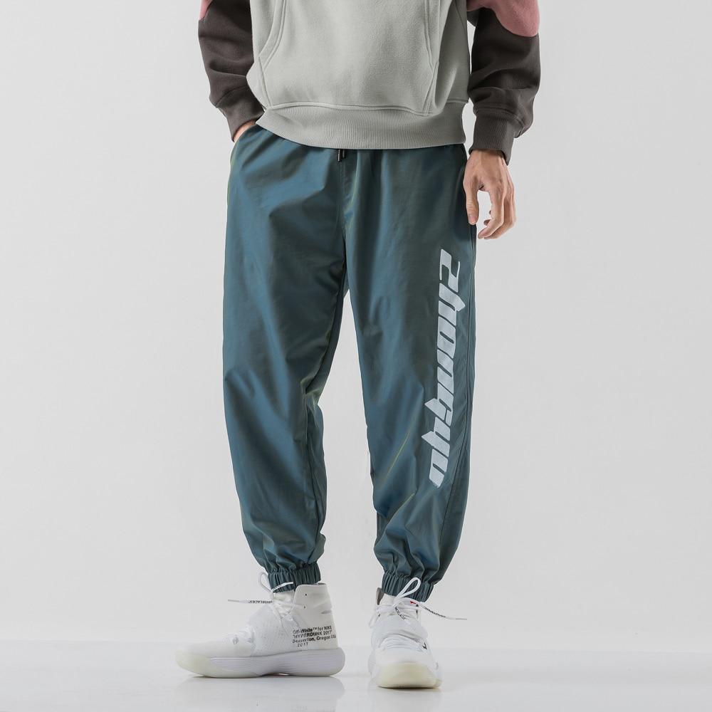 Pantalones Cargo de harén para hombre, pantalón informal, Hip Hop, para correr, Harajuku, reflectantes, ropa de calle|Pantalones informales| - AliExpress