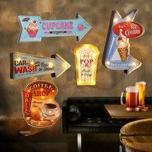 Americano Retro letrero de neón con luz LED Vintage Metal firma restaurante Garage CAFÉ Tienda guía señal lavado de coche palomitas de maíz placa N382