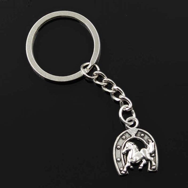 New Fashion Men 30mm Keychain DIY Metal Holder Chain Vintage Horse Horseshoe 23x18mm Silver Pendant Gift