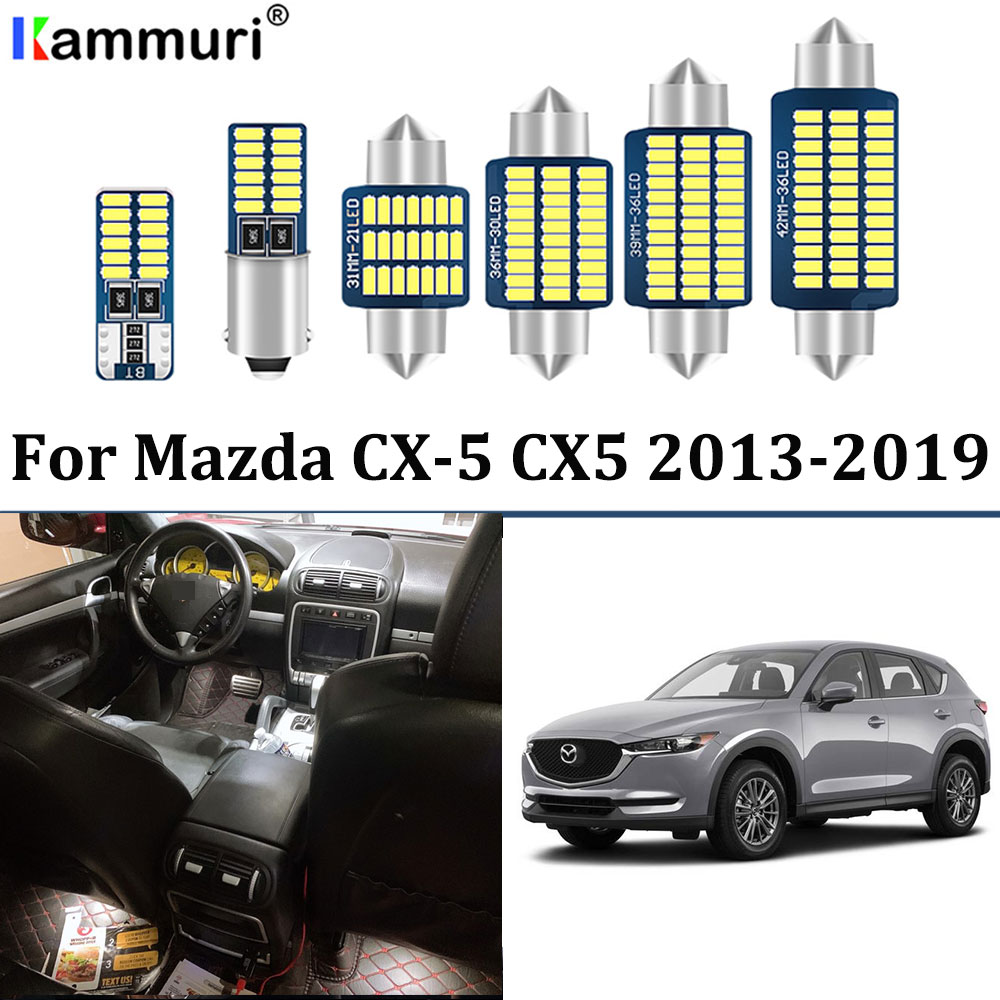 9Pcs No Error White <font><b>LED</b></font> Car Interior Light Package Kit <font><b>for</b></font> <font><b>Mazda</b></font> <font><b>CX</b></font>-<font><b>5</b></font> CX5 2013 2014 2015 2016 2017 2018 <font><b>2019</b></font> Interior Lights image