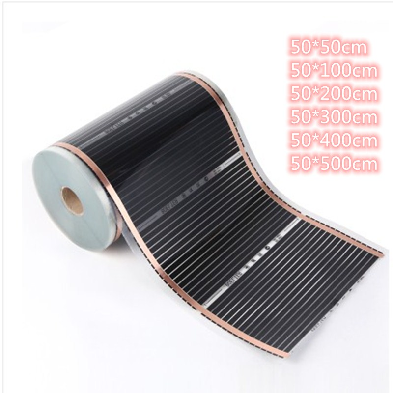 All Sizes 220V 50cm Width Healthy Floor Heating Infrared Underfloor Heating Carbon Film Heater Electric Floor Warming Mat