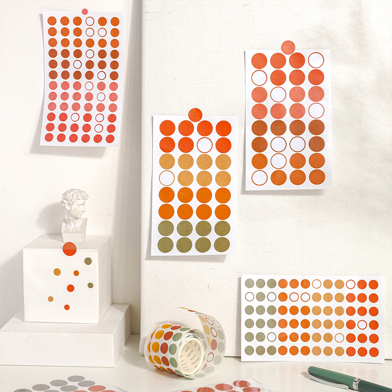 3 Sheets/pack Colorful Dot Stickers Round Sticker Labels 200 Labels (4 Assorted Colors)