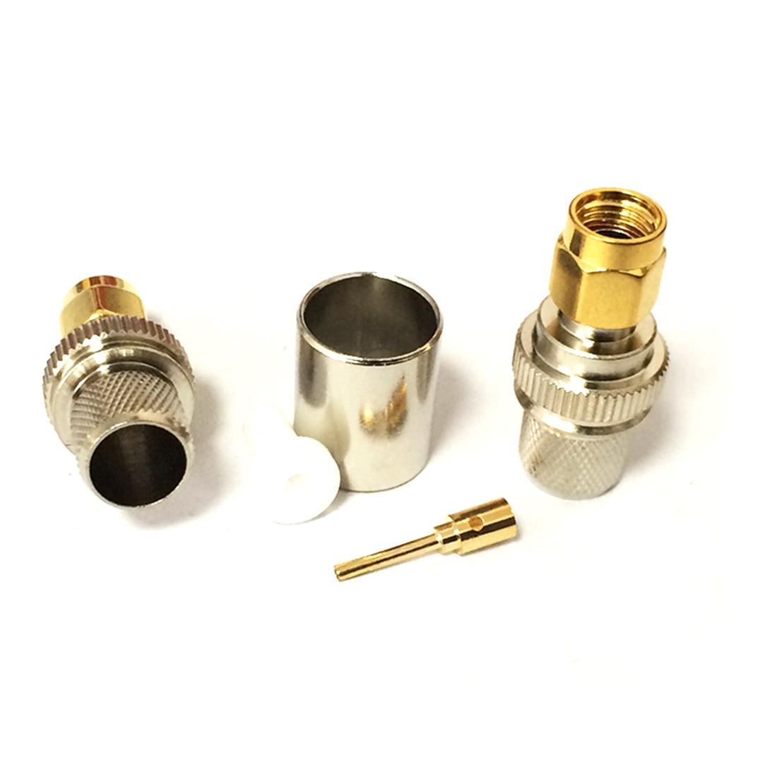 1pc RP-SMA  Male Plug  RF Coax Modem Convertor Connector Crimp  RG8,RG213,LMR400   Straight  Nickelplated  NEW wholesale