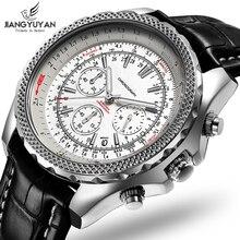 Мужские многофункциональные спортивные часы Earth Series, модные повседневные часы с хронографом, 6 стрелок, 24 часа, из натуральной кожи, 2019