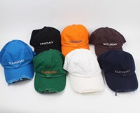 2019fw Vetements Monday To Sunday Weekday Embroidery Ripped Basball Caps Hiphop Streetwear Vetements Caps Hat 7 Colors