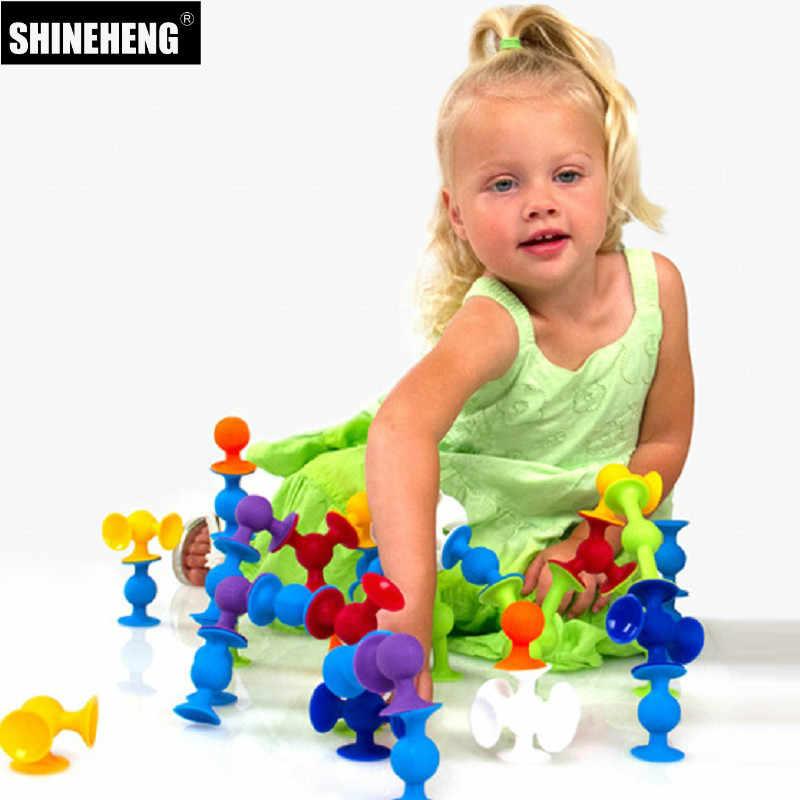 軟質プラスチックのビルディングブロックキッズ diy ポップ吸盤おかしいシリコーンブロック建設のおもちゃ子供のためのボーイズ · ガールズのクリスマスギフト