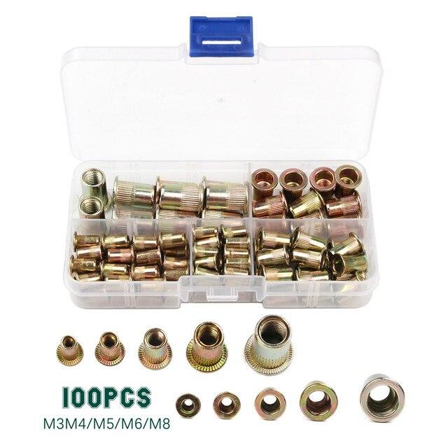 100 шт., гайки из углеродистой стали/алюминия с заклепками, M3 M4 M5 M6 M8, набор гаек с плоской головкой, вставки и заклепки разных размеров