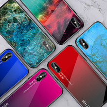Gradient Crack Glass Phone Case for iPhone XS Max XR X 7 8 6 6S Plus Fashion Marble Rainbow Protective Cover For