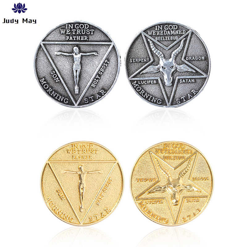 Tv Show Lucifer Morningstar Satanic Pentecost Coin Herdenkingsmunt Badge Halloween Metalen Accessoires Prop Coin 2 Stijl