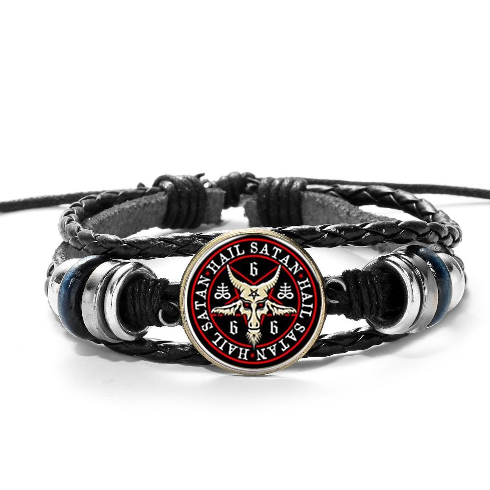 SONGDA Hot Sale Red Goat Head Braided Bracelet Men Retro Bronze Pentagram Pattern Leather Bracelets Bangle Satanism Gothic Style 1