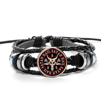 SONGDA Hot Sale Red Goat Head Braided Bracelet Men Retro Bronze Pentagram Pattern Leather Bracelets Bangle Satanism Gothic Style 1