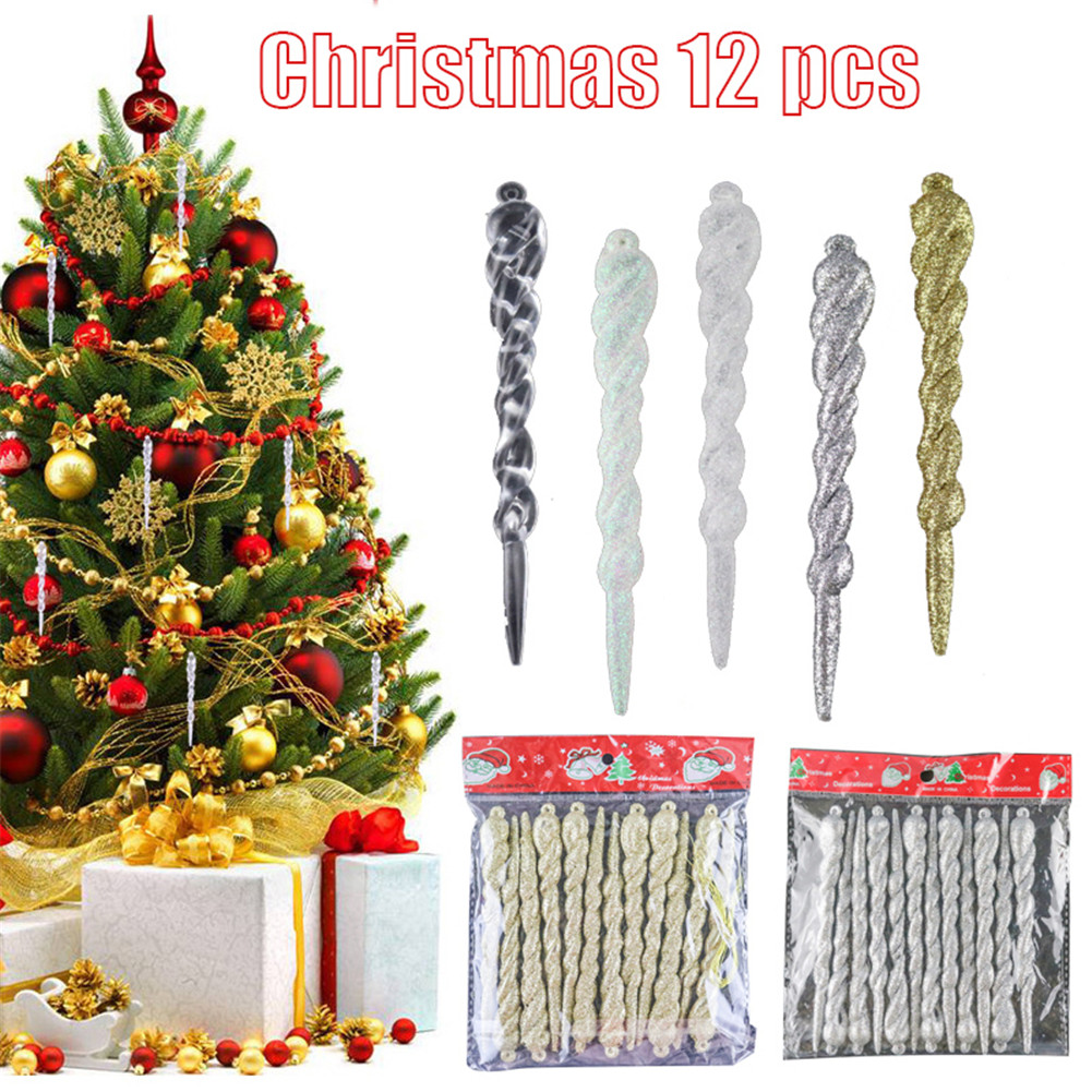 GLITTER GREEN ICICLES--NEW IN PKG 24 CHRISTMAS TREE ORNAMENTS