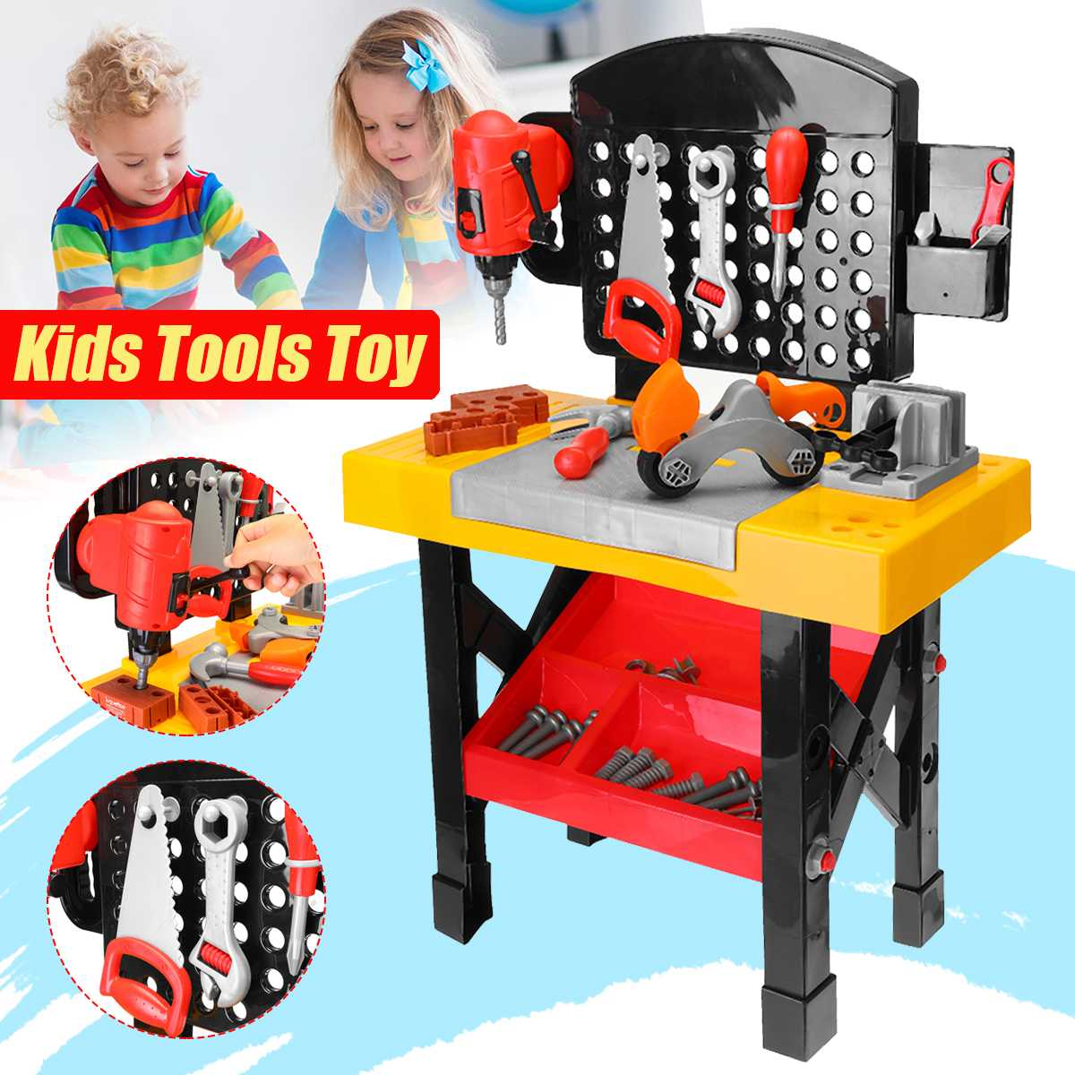 Children Boy Repair Tools Toys Workbench Electric Drill Hammer Wrench Simulation Carpenter Toys For Kid Learnning Education Toys