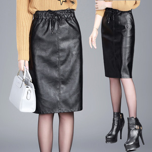 Image 1 - تنورات نسائية من جلد البولي يوريثان 2019 تنورة جديدة للخريف والشتاء تنورة متوسطة الطول بخصر مطاطي للنساء مقاس كبير M 4xl