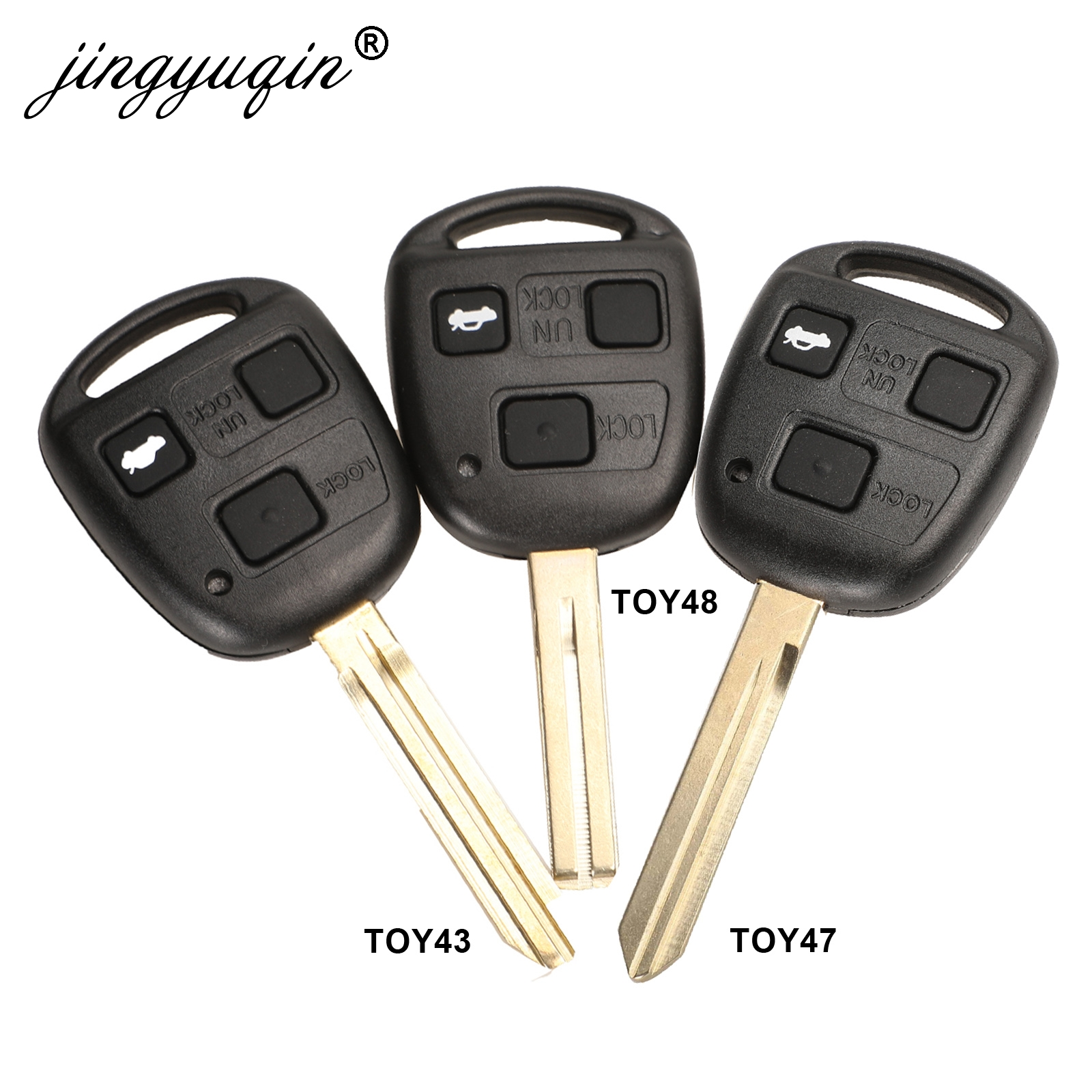 Jingyuqin 3 Buttons Car Remote Key Case + Button Pad For Toyota Avensis Corolla Yaris Rav4 Key Fob Shell Cover TOY43 TOY47 TOY48