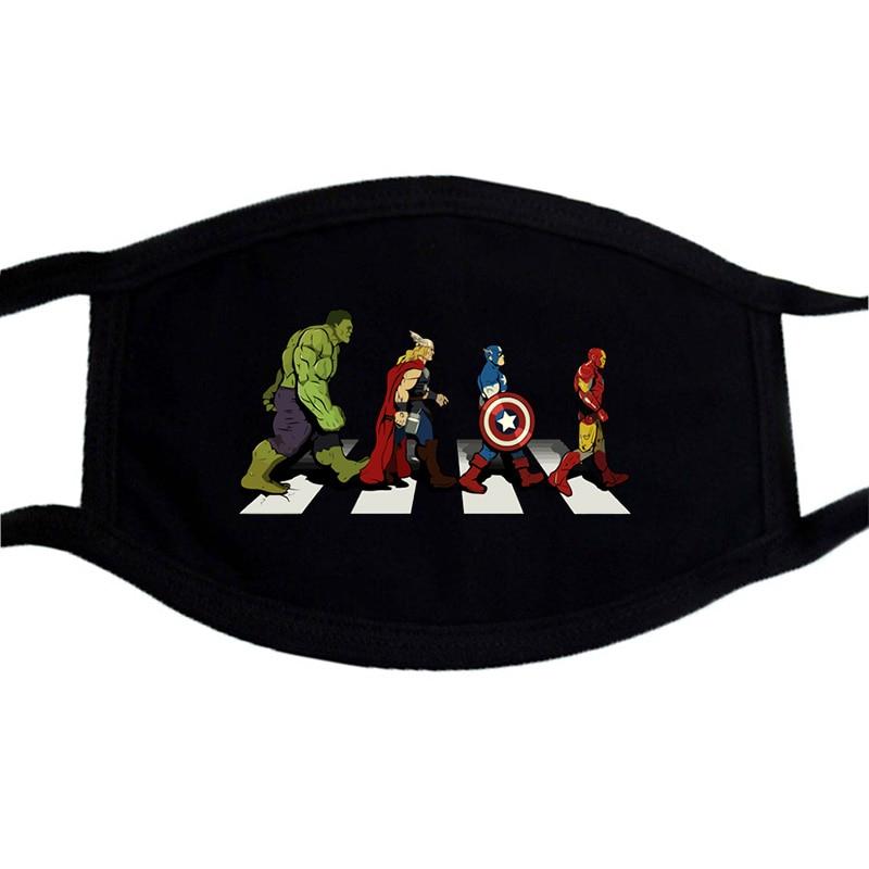 The Avengers Superhero Fashion Mask Face Unisex Washable Dust Proof Mouth Muffle Mask Black Winter Warm  Funny Masks