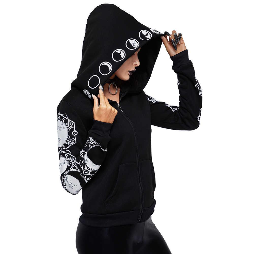 Женская толстовка 2019 Готический Повседневный длинный рукав с капюшоном на молнии толстовки с капюшоном женский джемпер женский спортивный костюм Толстовка TQ0225W
