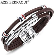 AZIZ BEKKAOUI гравировка имя коричневый кожаный браслет для мужчин браслеты из нержавеющей стали браслет из воловьей кожи винтажные мужские аксессуары