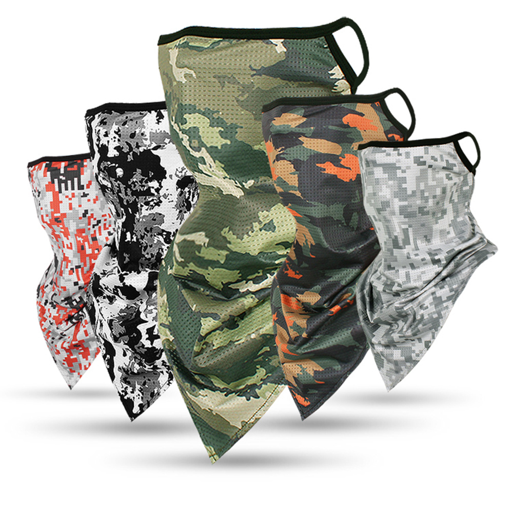 Unisex Camouflage Ice Silk Magic Bandana Breathable Triangle Half Face Mask Outdoor Fishing Hiking Cycling Neck Cover Scarf(China)