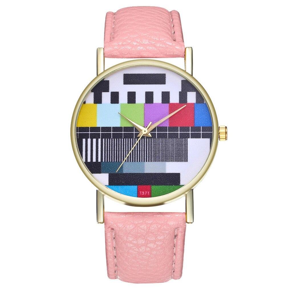 Women Ladies No Signal Television Creative Watch Multicolour Strap Geneva Watch часы женские Montre Femme Zegarek Damski ساعات
