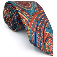 A33 Blue Orangere Abstract Mens Necktie Tie Silk Jacquard Woven Wedding Fashion Brand New Ties for men Novelty male