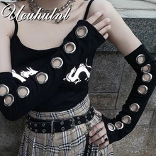 Harajuku Punk Gothic Eyelet Arm Warmer Hollow Out Unisex Women Men Sport Outdoor Elbow Length Cuff Sleeves 2021 Cool Oversleeve