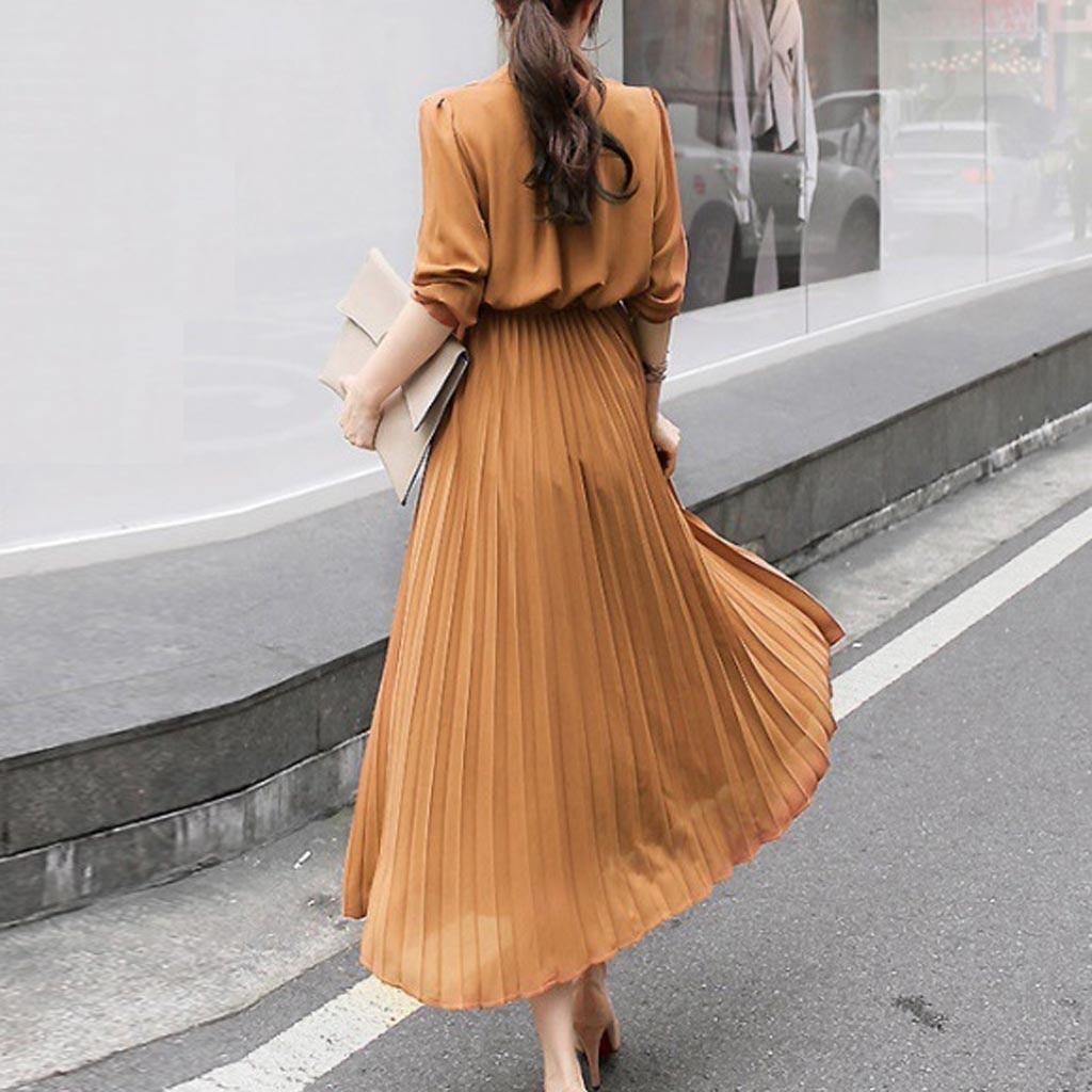vestido de mujer Women Casual Solid V Neck Dress Long Sleeve Beam Waist Big Swing Pleated