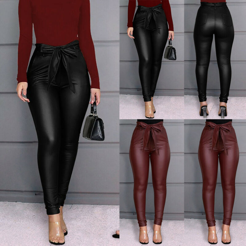 US 2020 Women's Snake Style Leggings PU Leather Pants Casual Outwork Sexy Lady Stretchy Skinny Pencil Trousers High Waist S-XL