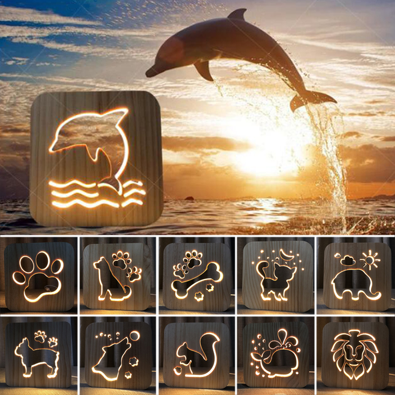 Solid Wood Hollow Carving Animal Led Lights New Strange Creative 3D Table Lamp Dog Cat Whale Dolphins Night Light Holiday Gift