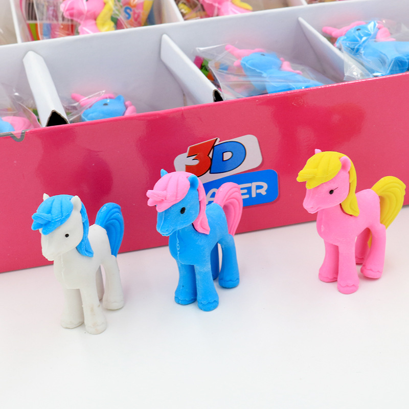 3 Pcs/lot Cartoon Unicorn Eraser Cute Writing Drawing Rubber Pencil Eraser Stationery For Kids Gifts School Suppies