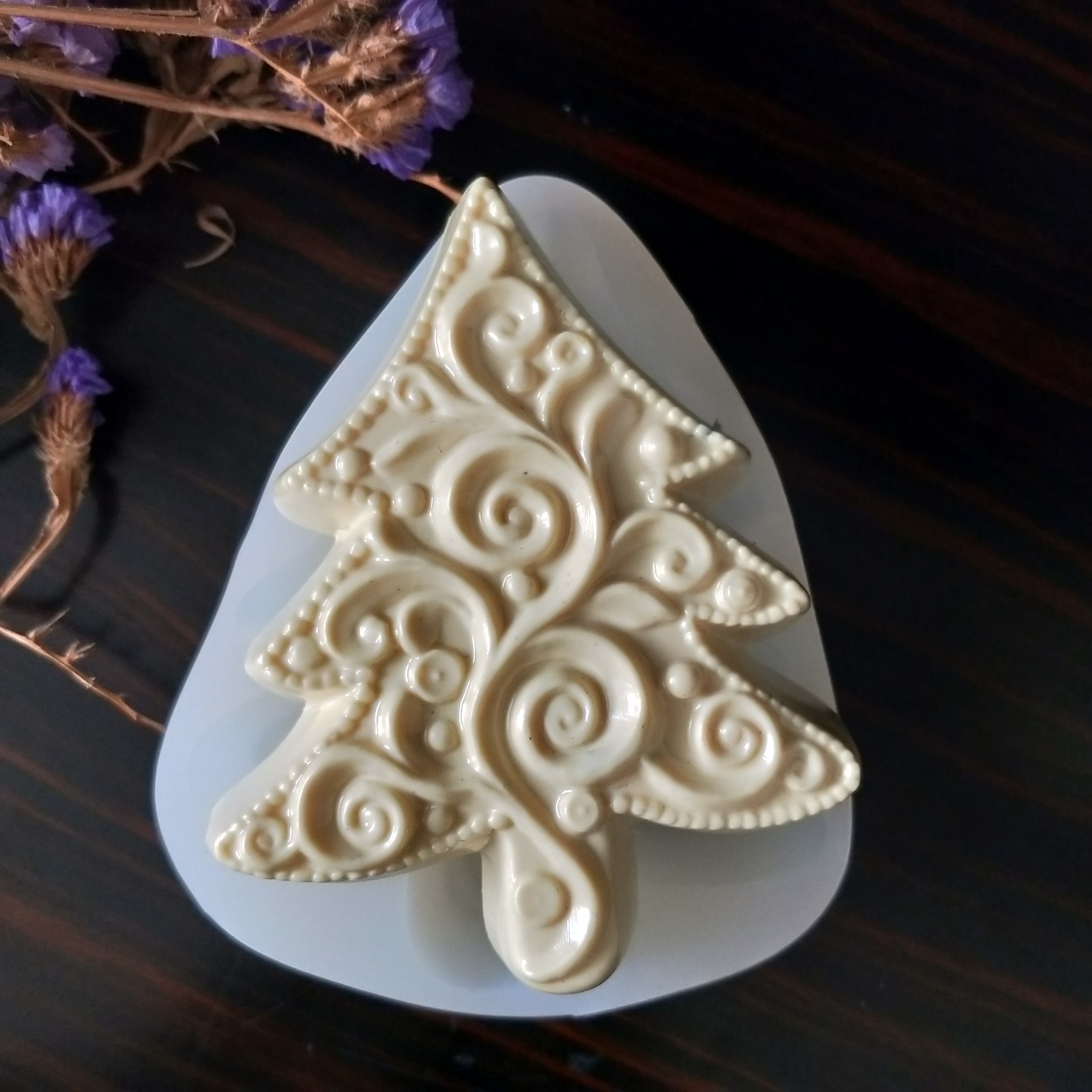 HC0163 PRZY Silicone Fondant Mould Ripple christmas tree Silicone Mold Christmas Soap Molds Clay Resin Gypsum Chocolate Candle