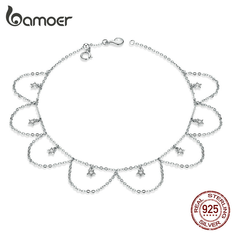 bamoer Silver 925 Chain Anklet Flower Chain Bracelet for Foot 925 Sterling Silver Leg Jewelry Fine Jewelry Accessoreis BST002