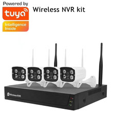 Tuya Smart Life 4CH Video System Surveillance Camera NVR Kit 1080P Wireless WIFI CCTV System Camera Security System Waterproof