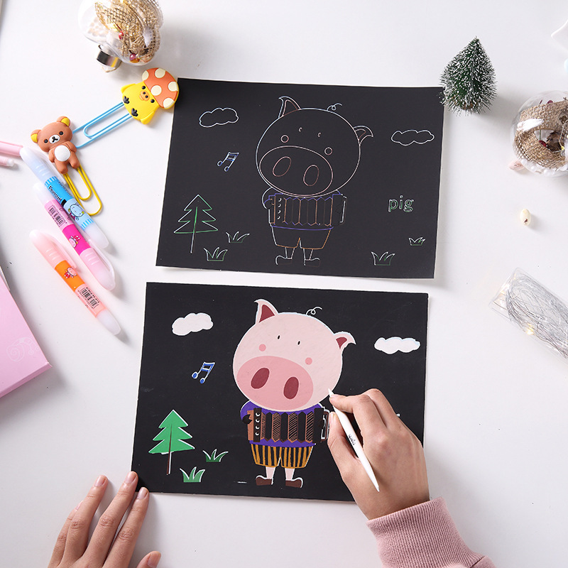 10 pcs 19*26cm Children Scratch Painting Creative DIY Double-side Scratch Art Paper Educational Drawing Toys For Kids with pen