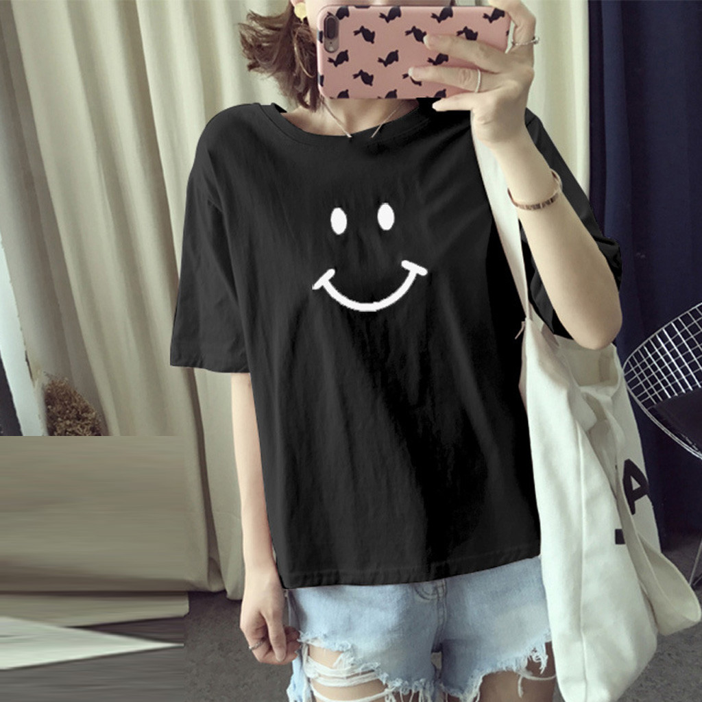 Smiles Print T-Shirt Women Casual Short Sleeve Ladies O-Neck Tops Tee Shirt Femme Loose Aesthetic T-Shirt Woman roupas feminina