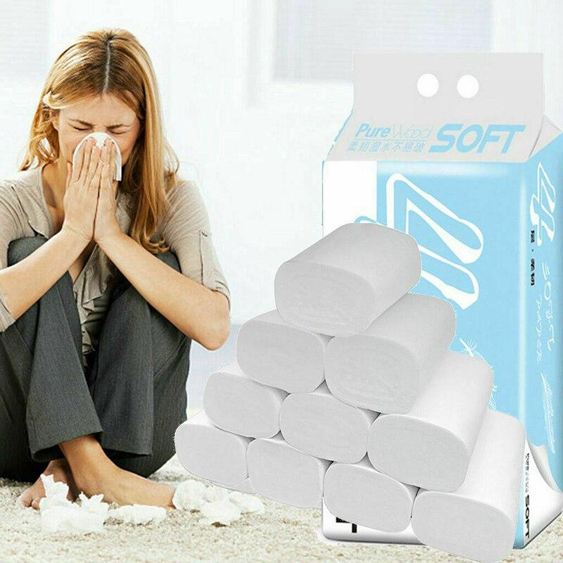 6 Rolls Toilet Paper Bulk Bath Tissue Bathroom White Soft 4 Ply Household Office Wood Pulp Toilet Tissue Set