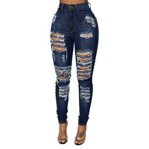Женские узкие брюки, потертые рваные джинсы с градиентом, длинные джинсы, сексуальные обычные брюки размера плюс S-2xl, женские джинсы, одежда
