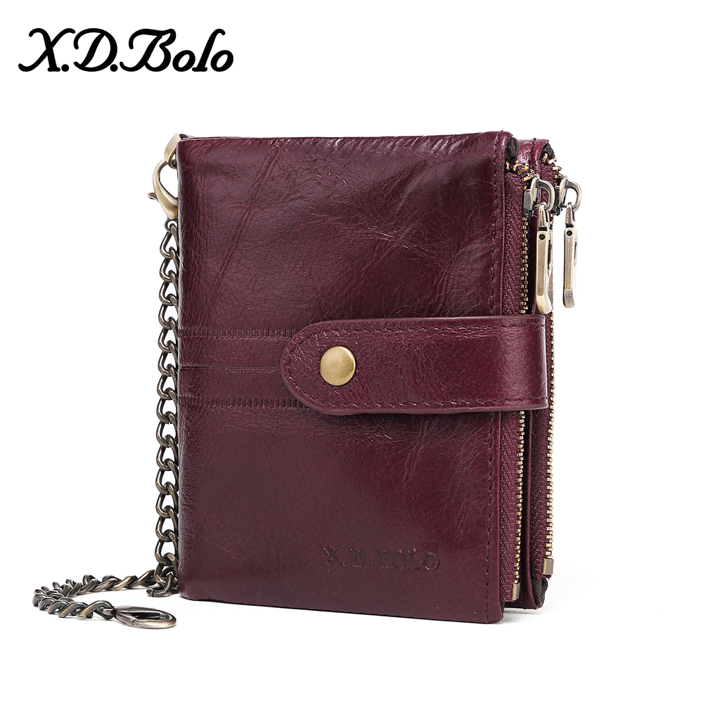 X.D.BOLO Leather Women Wallet Vintage Woman Wallet Leather Genuine Zipper Coin Pocket Wallets Card Holder Wallet  Wholesale