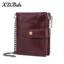 X.D.BOLO Leather Women Wallet Vintage Woman Wallet Leather Genuine Zipper Coin Pocket Wallets Card Holder Wallet  Wholesale