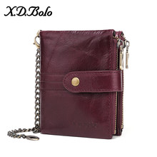 X.D.BOLO Leather Women Wallet Vintage Woman Wallet Leather Genuine Zipper Coin Pocket Wallets Card Holder Wallet Wholesale(China)